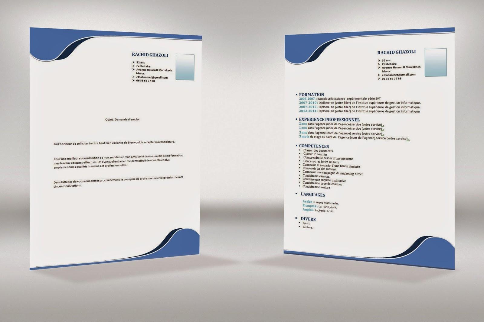 comment faire un cv  cv   demande d u0026 39 emploi style simple bleu format word
