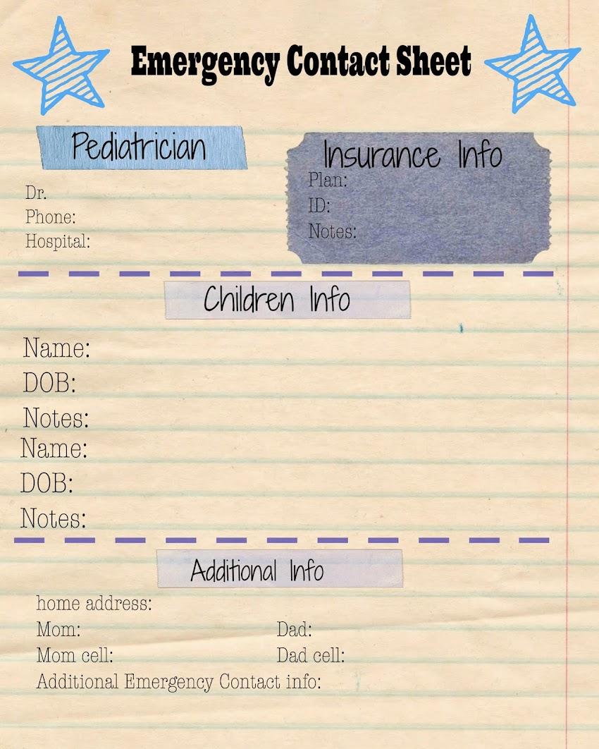 Emergency Contact Sheet