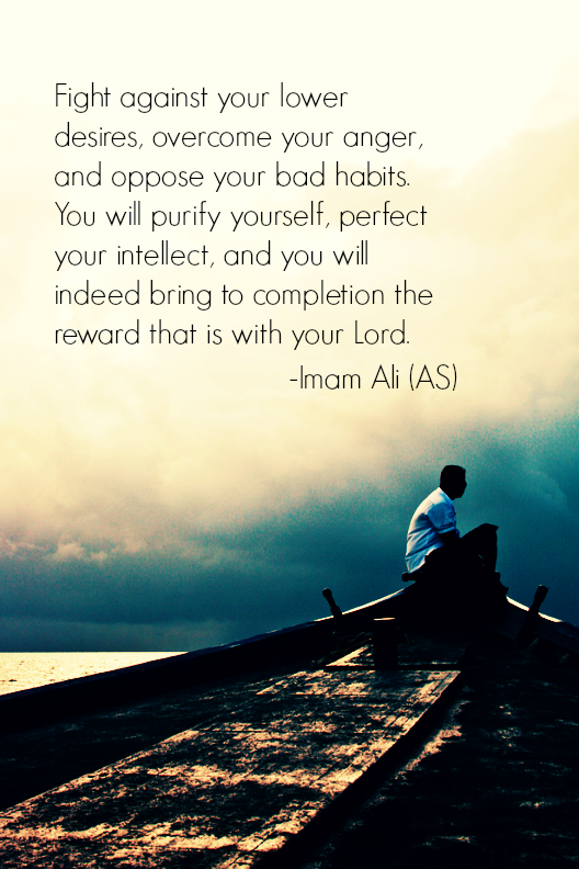 Fight against your lower desires, overcome your anger, and oppose your bad habits. You will purify yourself, perfect your intellect, and you will indeed bring completion the reward that is with your Lord.
