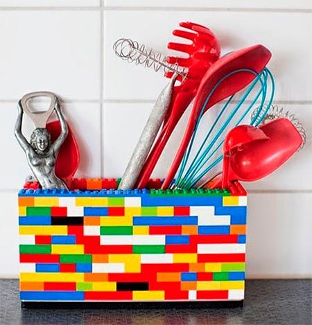 reciclagem Lego, porta utensílios, cozinha, decoração.