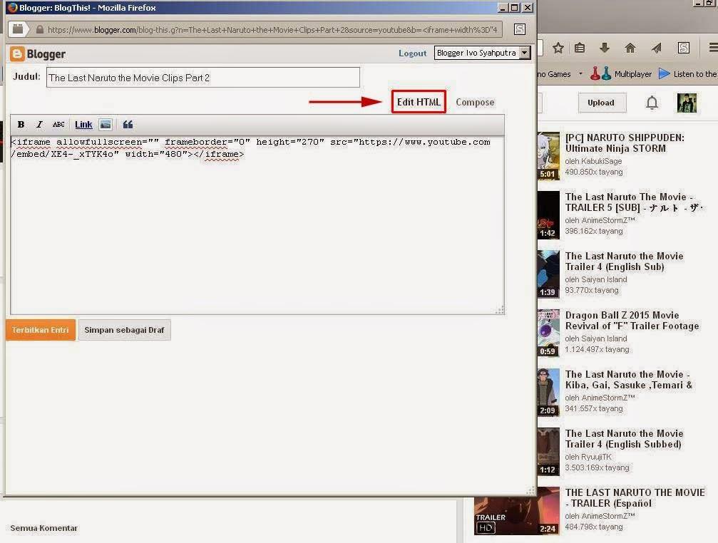 Cara Memasukan Video You Tube Ke Postingan Blog