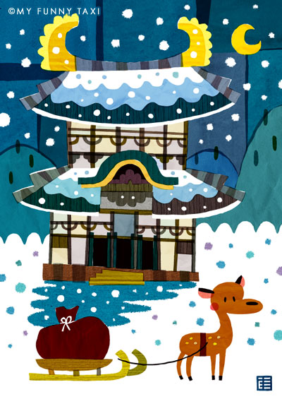 奈良東大寺のイラスト Nara Todaiji Temple illustration