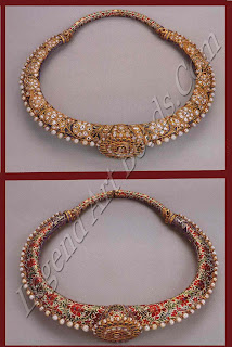 A gold necklace with diamonds on a blue enamel ground with a row of large pearls along the outer edge. The name of this uniquely Indian form is derived from the collar bone (hansuli) on which such ornaments rest. Variations of this basic type are common all over north India.