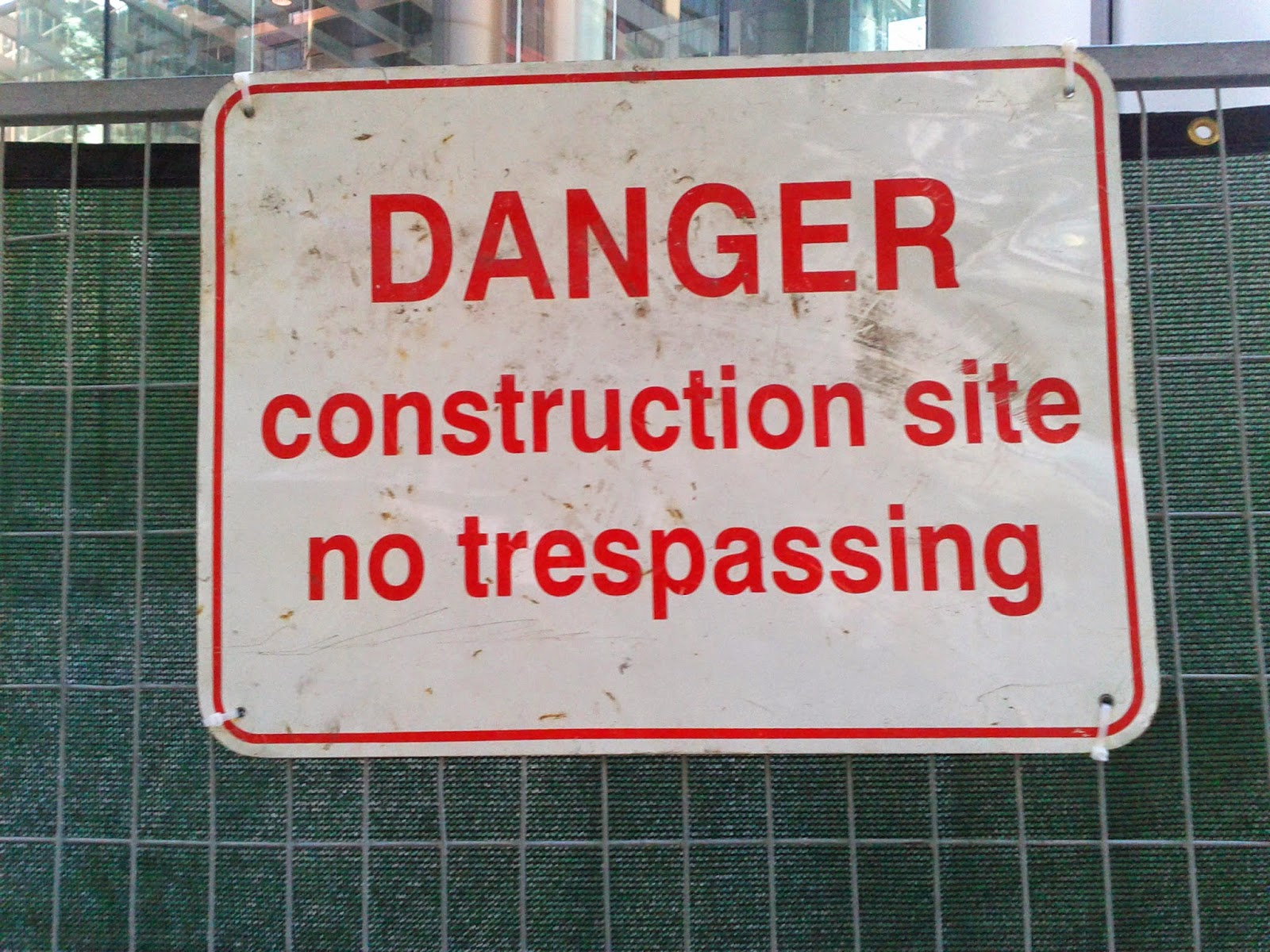 Stock photo: Danger construction site no trespassing sign