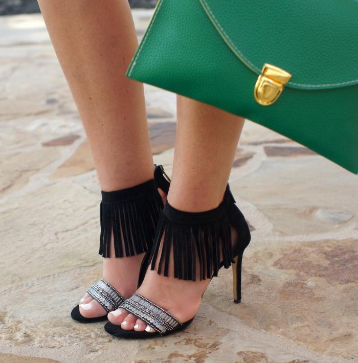 vince camuto black suede fringe summer sandal heels