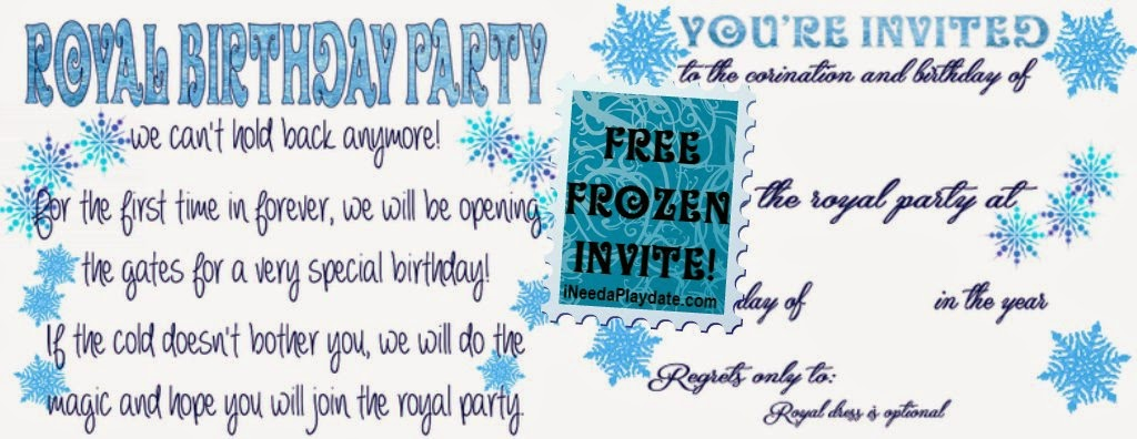 Invites for Frozen Birthday party - ineedaplaydate.com