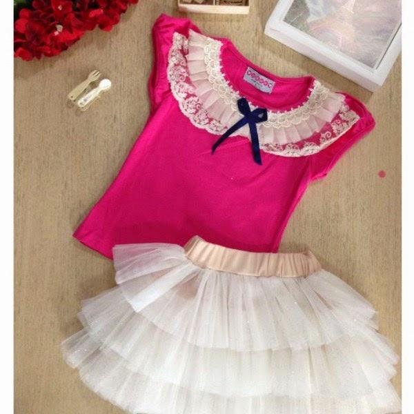 Gambar baju anak setelan tutu warna pink putih model baru