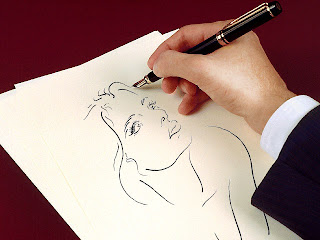 muchacha hoja de papel, dibujando mujer