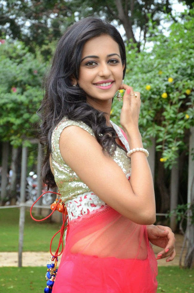 Actress Rakul Preet Singh Latest Cute Hot Exclusive Transparent Pink Saree Navel Show Spicy Photos Gallery