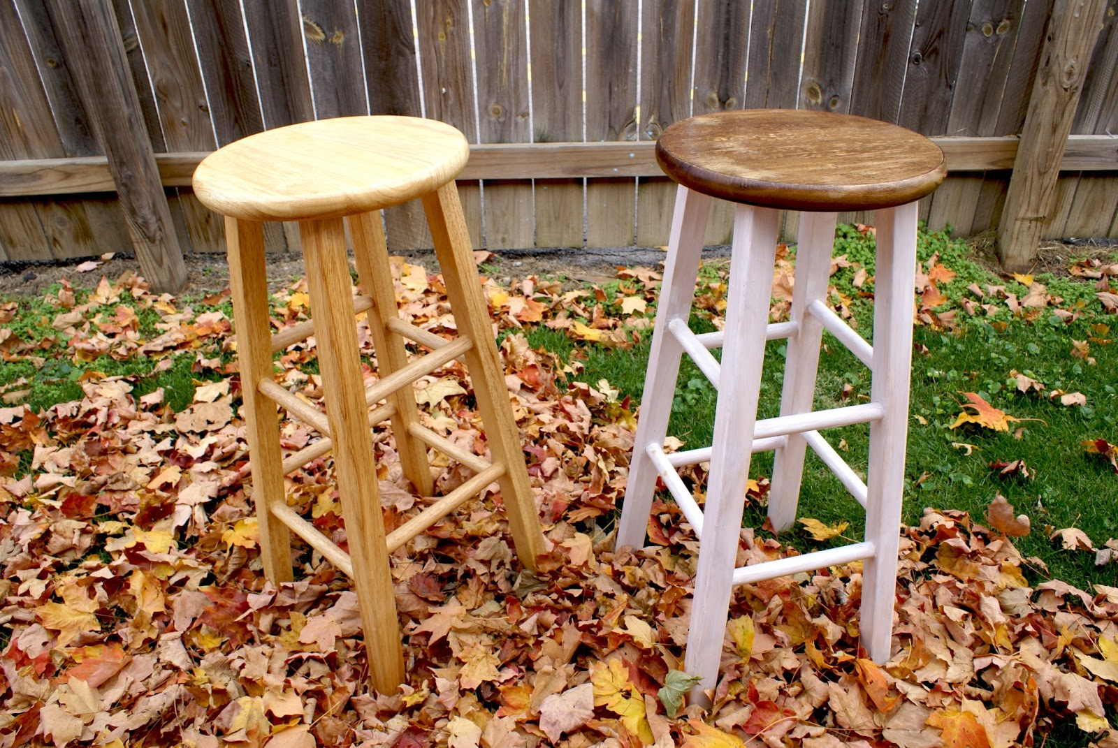 Wonderful image of why is why: Thursday DIY: Stained and Painted Bar Stools with #B88414 color and 1600x1071 pixels