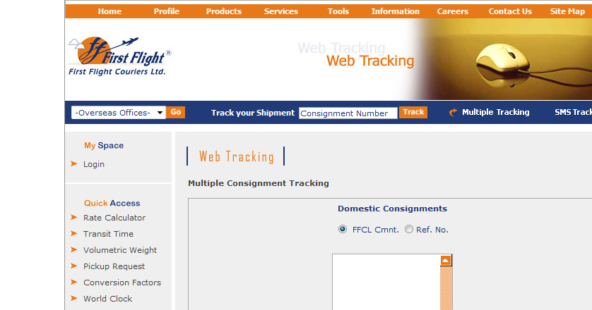 Track Status... First Flight Courier Tracking