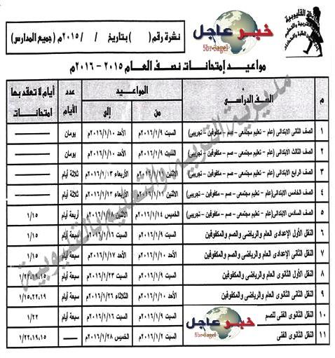جدول ومواعيد امتحانات الفصل الدراسى الاول لعام 2015 / 2016 محافظة القليوبية