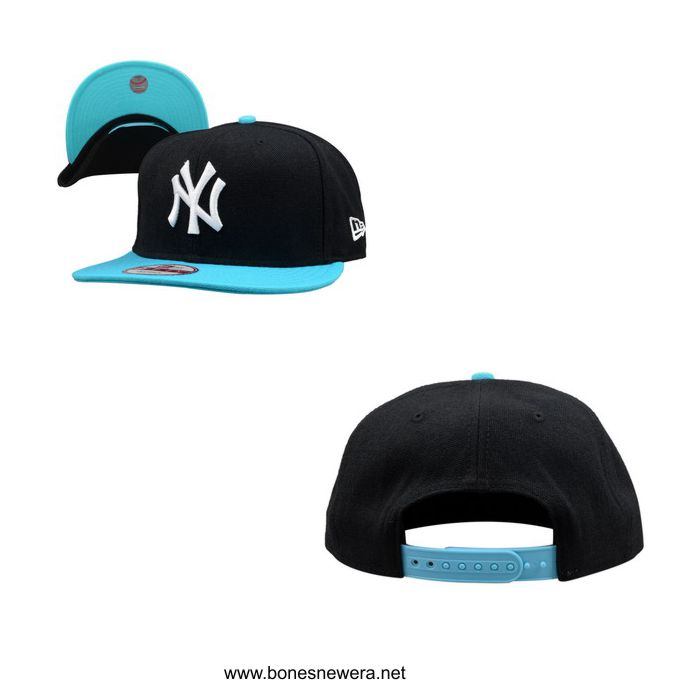 Boné New Era NY Yankees Preto, Azul Bebê Snapback