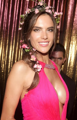 Alessandra Ambrosio Exposes Cleavage at Vogue Carnival in Sao Paulo