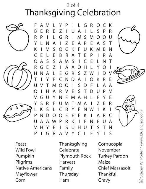 Thanksgiving Word Search Coloring Pages Printables