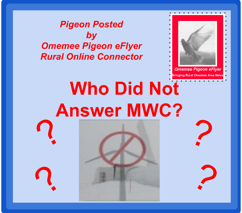 image Omemee Pigeon Posted Who Did not answer MWC? Manvers Winid Concern Logo surrounded by question marks a fake postage stamp in the top right corner with the image of a Pigeon Blue Background with red font bordered in darker blue