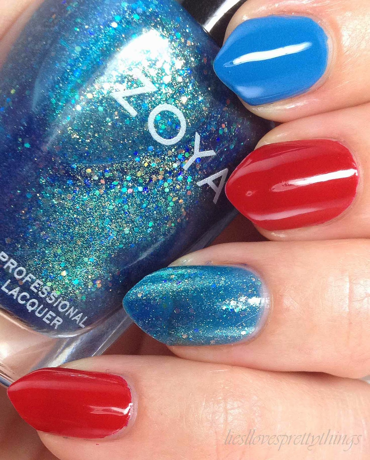 Fourth of July skittlette manicure featuring Zoya polishes