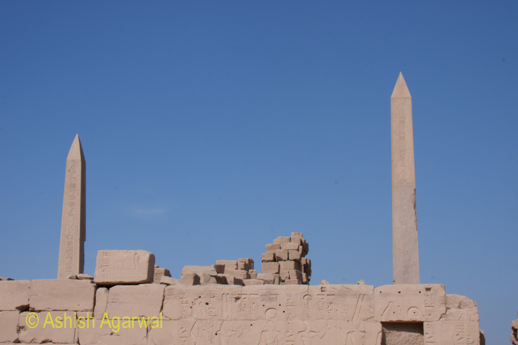 View of 2 obelisks inside the Karnak temple in Luxor