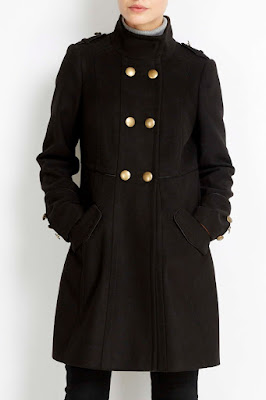 Wallis Black Military Funnel Coat