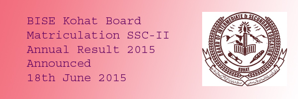 BISE Kohat Matric SSC Annual Result 2015 Online Declared