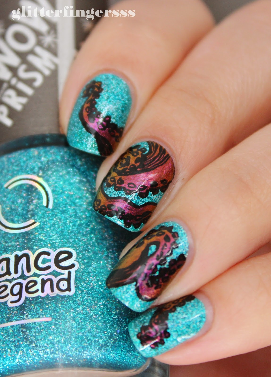 Nail art octopus glitterfingersss in english anyways despite the color i really like it prinsesfo Image collections