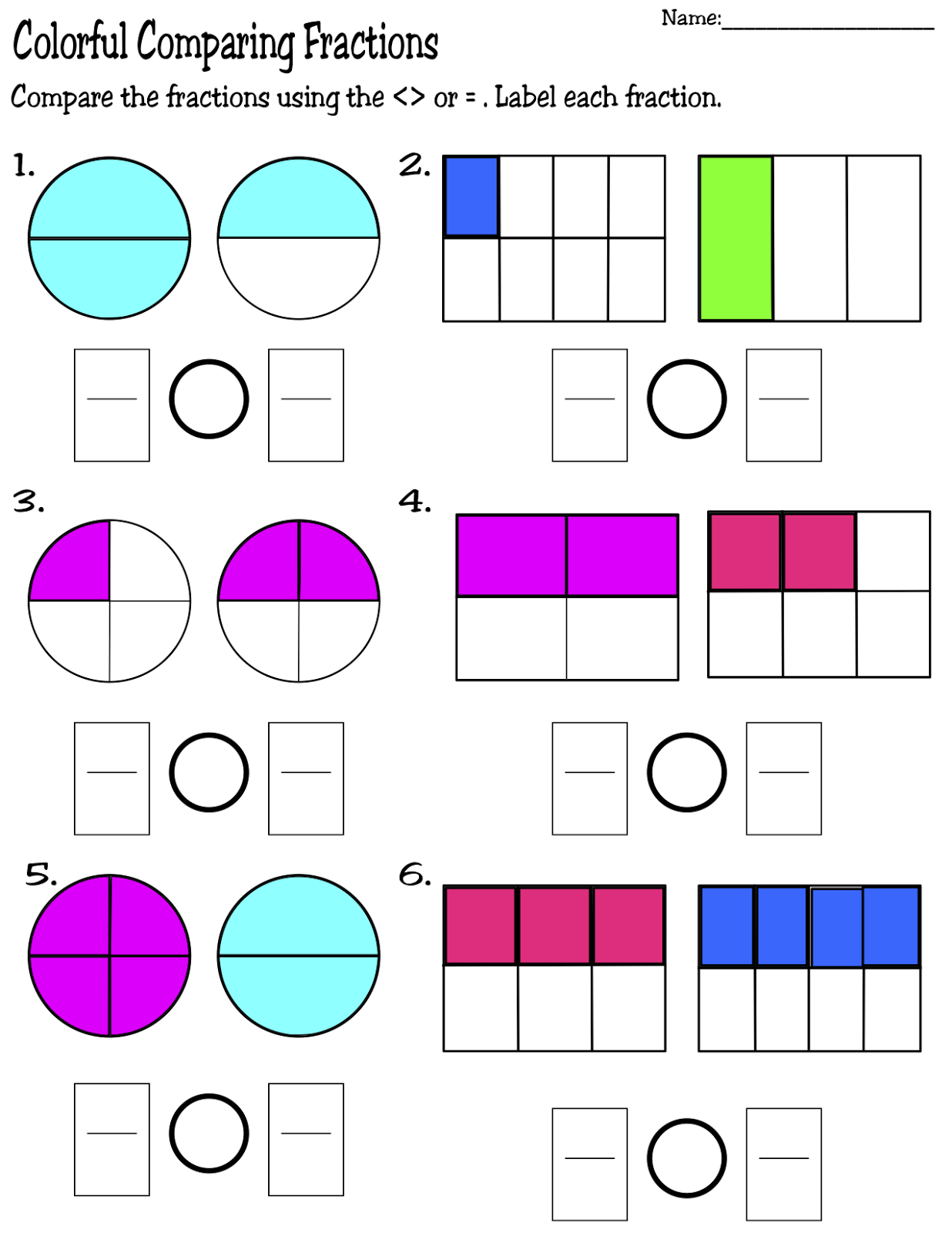 math worksheet : comparing fractions  who bigger  kids activities : Worksheet Comparing Fractions