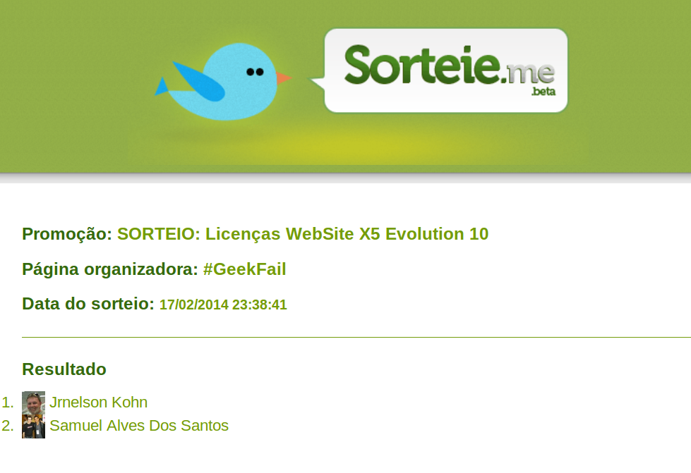 sorteio licencas website x5