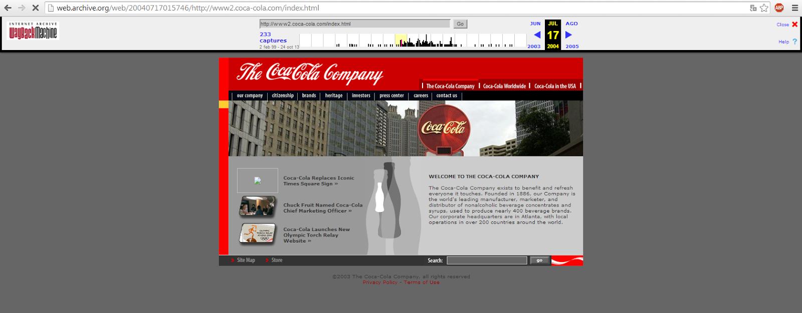 web de coca-cola 2004