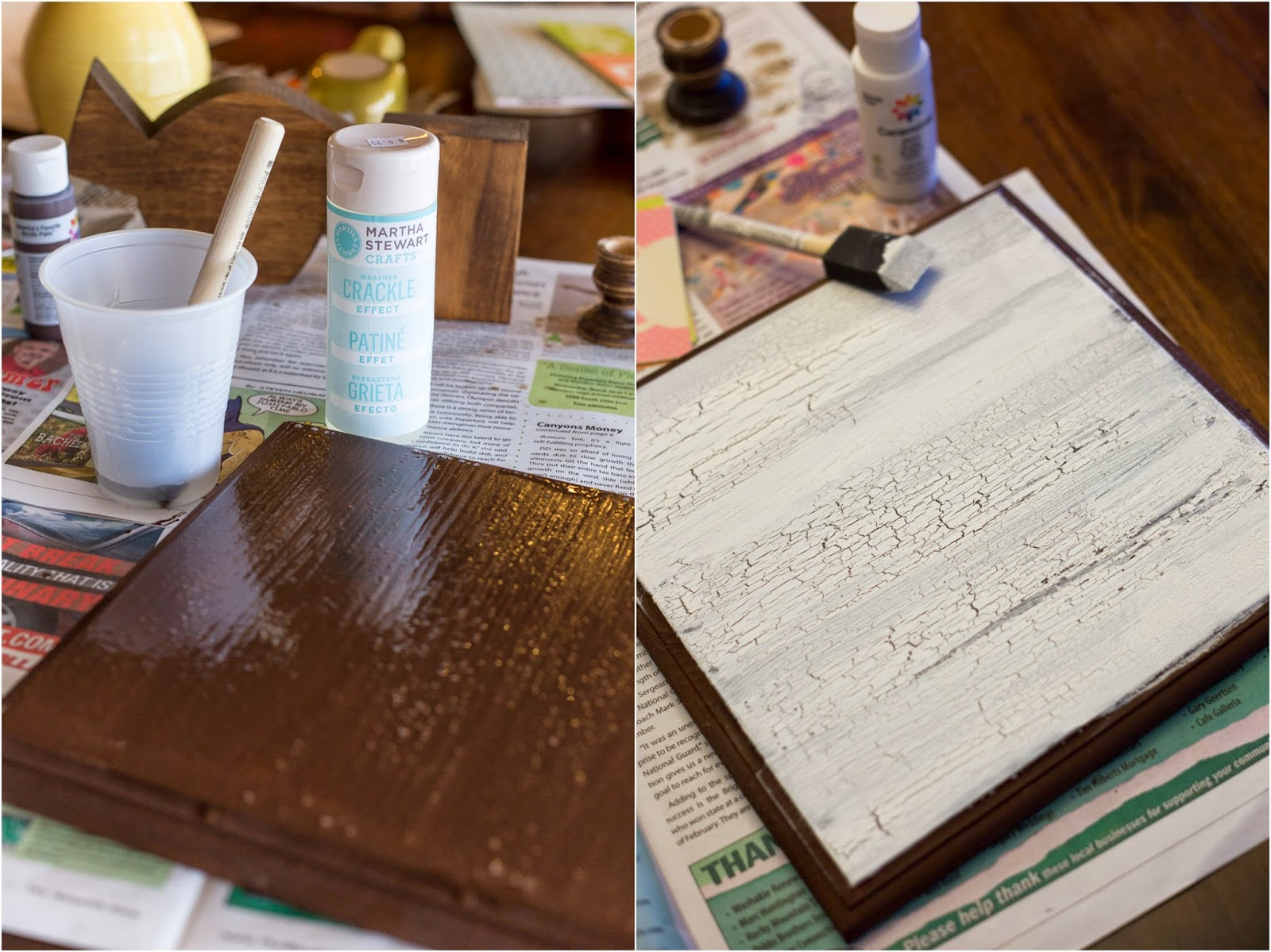 How to put scrapbook paper on wood - While You Are Waiting For Your Crackle To Dry Trace The Bird On Your Favorite Scrapbook Paper Cut It Out And Glue It To The Wooden Bird Using Wood Glue