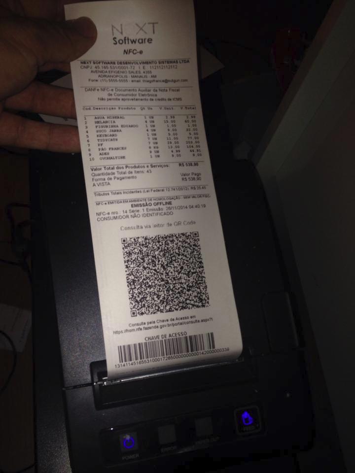 NFC-e Documento Impresso pelo NeXT ERP Nota Fiscal Eletrônica ao Consumidor