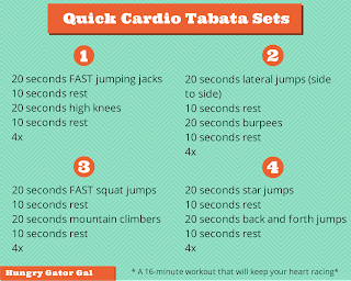 Quick Cardio Tabata Sets from Hungry Gator Gal