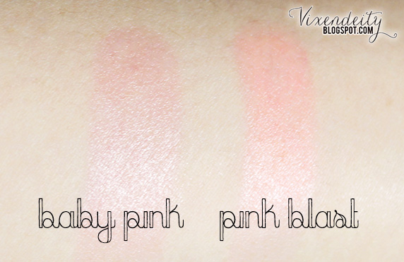 Maybelline Baby Lips Pink Glow Baby Pink and Pink Blast swatched on arm
