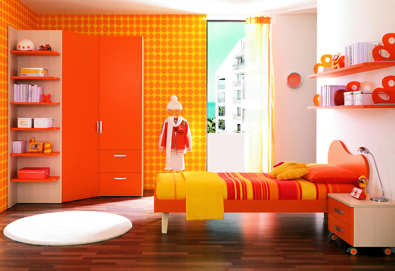 Habitaciones con estilo dormitorios para adolescentes - Habitaciones color naranja ...