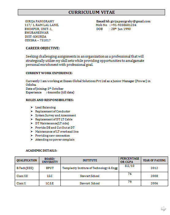 EEE Fresher Resume Sample – Sample Resume for Freshers