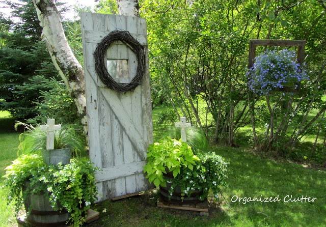 Barn door backdrop, repurposed garden Crosses