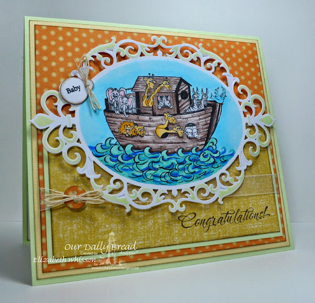 Our Daily Bread Designs, Noah's Ark, ODBD Matting Circles dies, Spellbinders Nestabilities Fleur de Elegance, ODBD Mini Tag dies, Mini Tag Sentiments, DCWV Sky's the Limit, Copics, aribrush, As you graduate, baby handmade card, Elizabeth Whisson