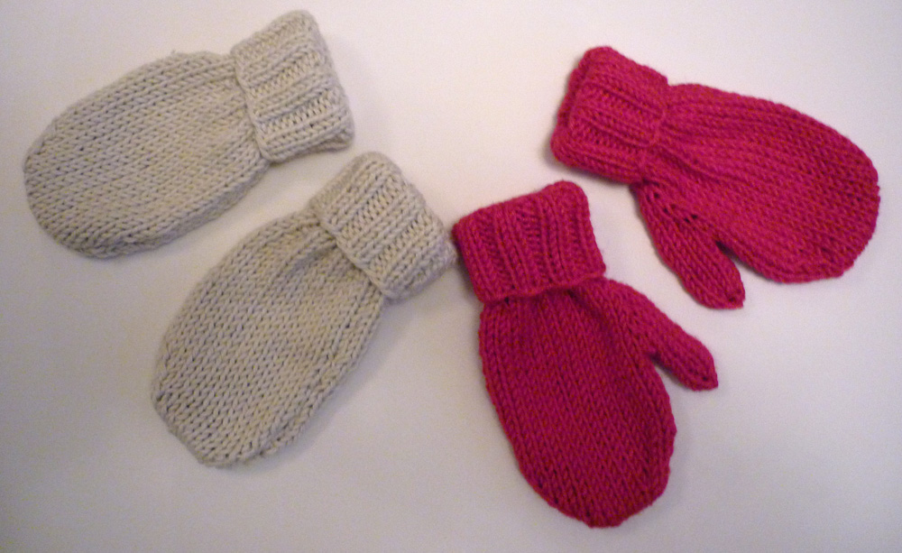 Knitting In The Round Baby Patterns : Mack and Mabel: Baby Mittens Knitting Pattern