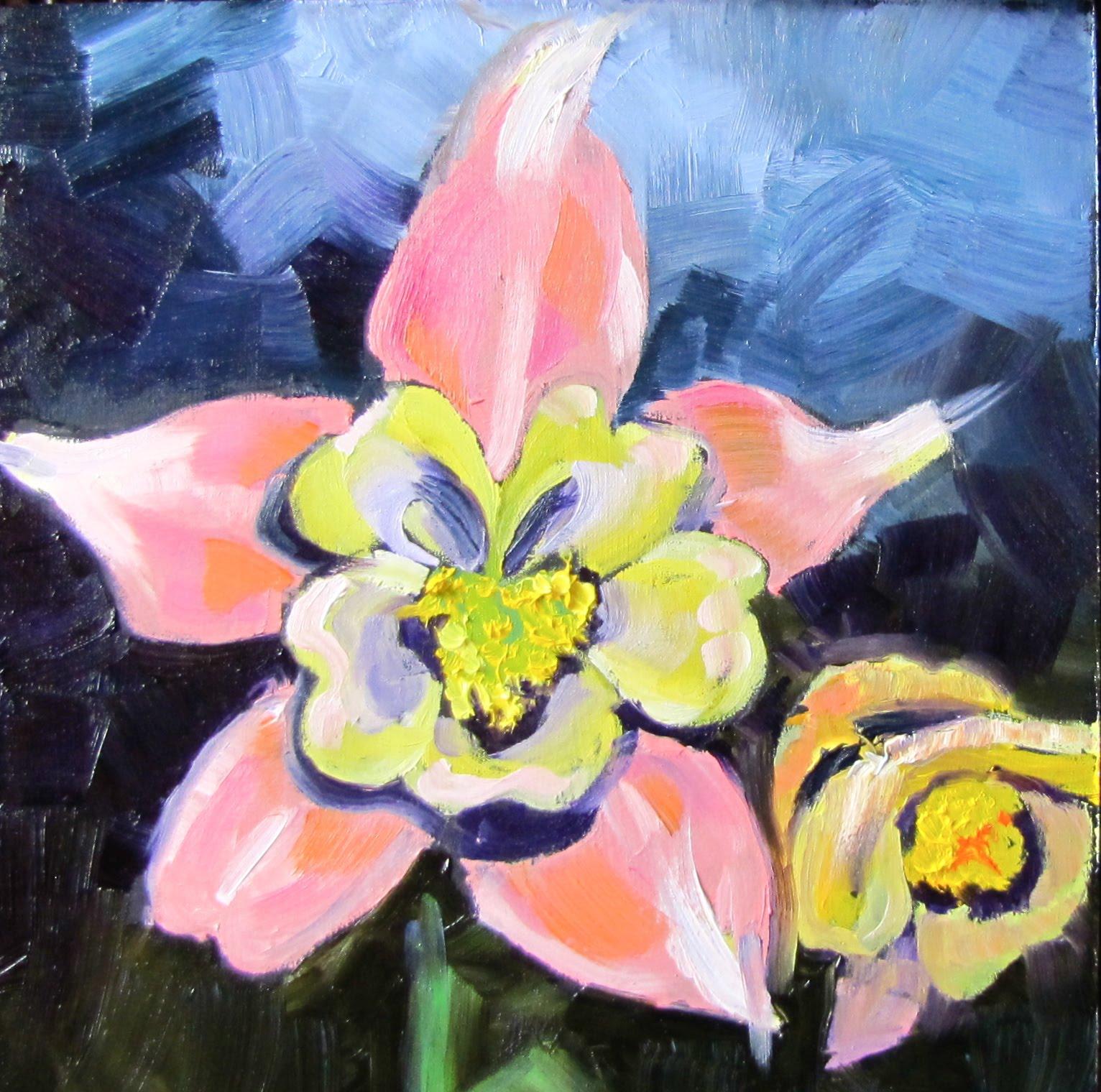 "Christine Holzschuh Go Figure Linda s Fower oil 6x6"" 263"