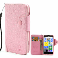 Leather Case Wallet With Card Slot for Nokia Lumia 625 - Baby Pink