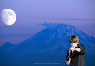 Wallpaper of Justin Bieber in Concert Blue Moon Mountain wallpaper for the fans
