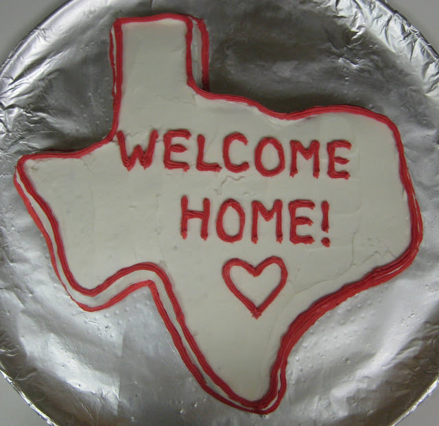 Texas Shaped Welcome Home Cake