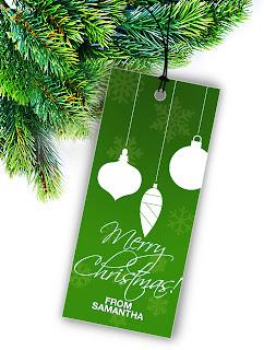 merry christmas hang tag used as christmas tree decoration
