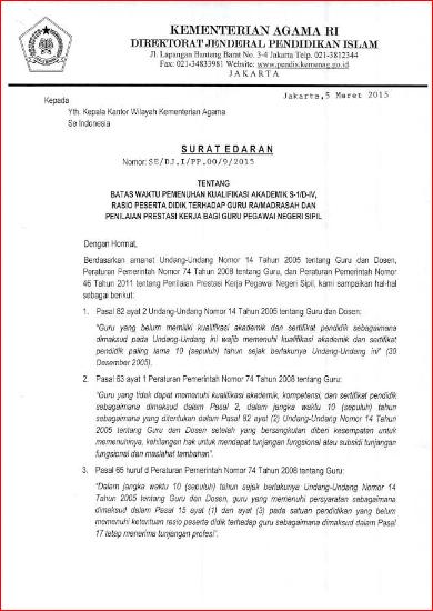 Surat Edaran Ditjen Pendis Tentang Batas Waktu Pemenuhan Kualifikasi Akademik S1 Div Rasio
