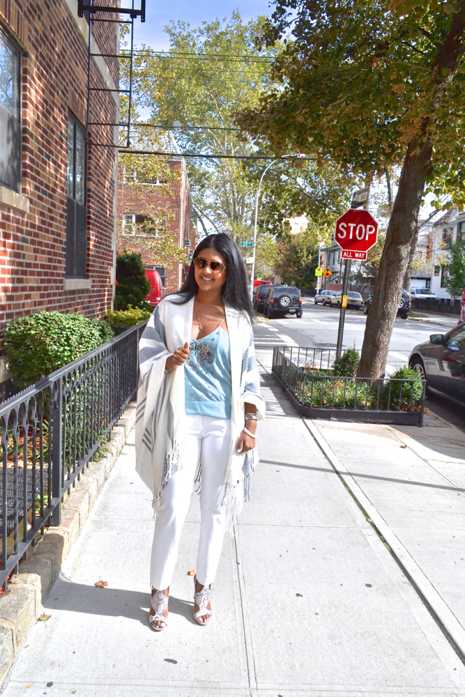 Astoria in Heels Theory white slacks