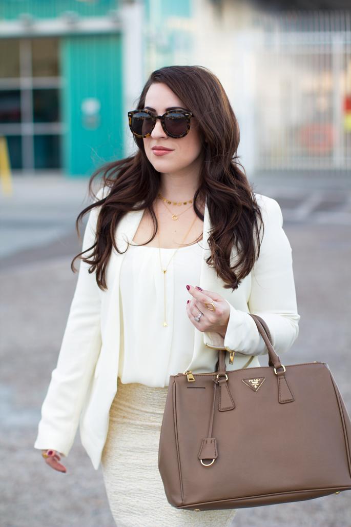 karen walker sunglasses, gorjana gold jewelry, prada saffiano