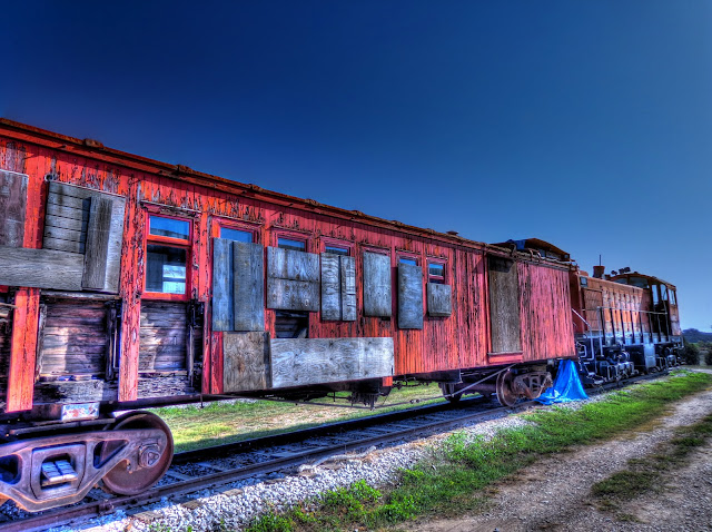 Old Pealing Red Train Car - Angle Shot - Austin Steam Train - Cedar Park, Texas