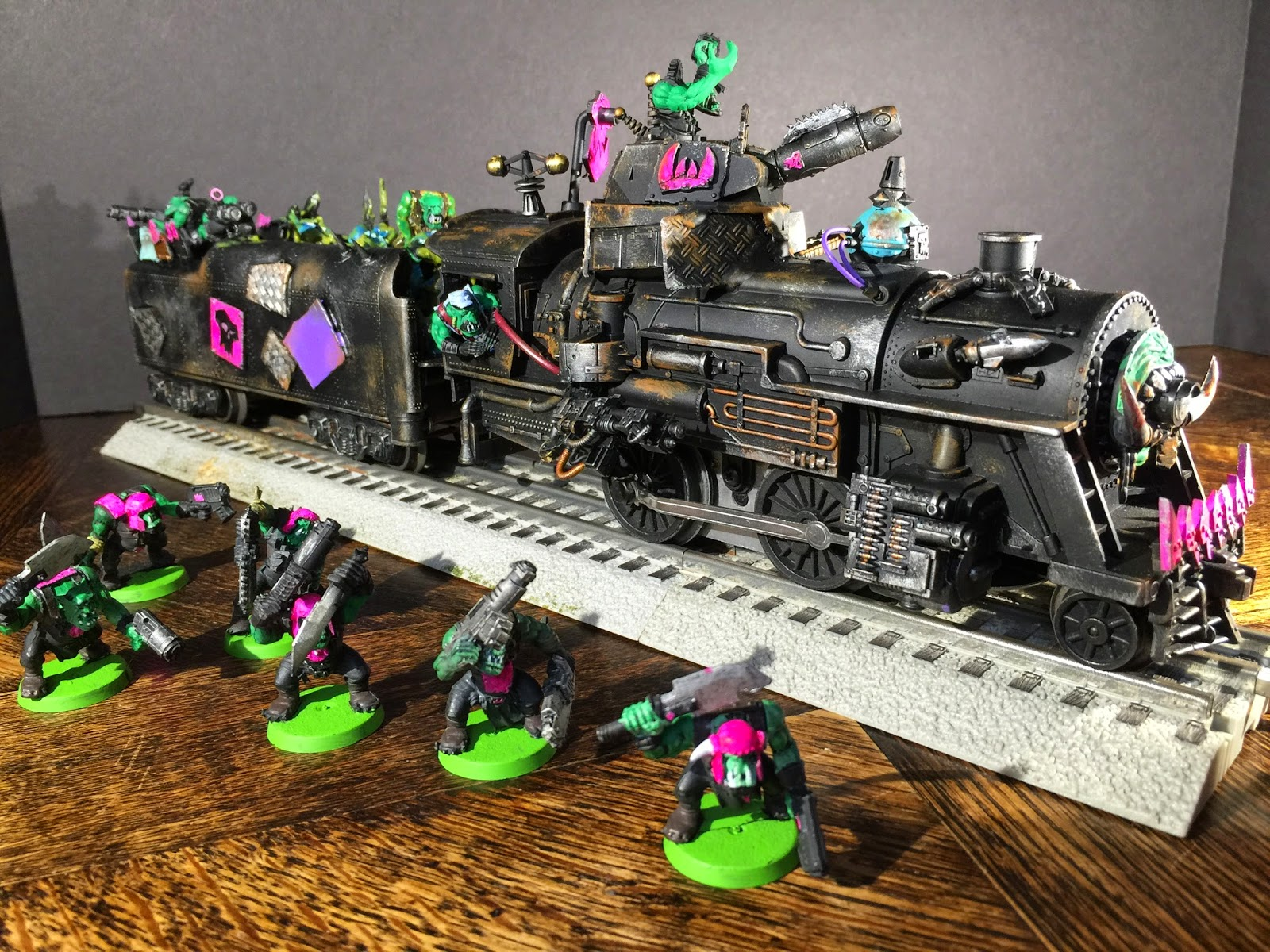 Pink Orks; Dakka Chugga; Ork Train; Ork Steam Train; Ork Locomotive; Battle Gaming One
