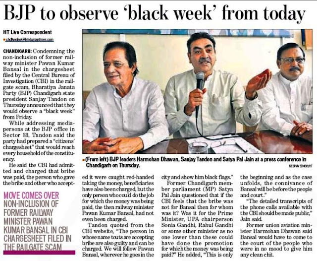 (from left) BJP leader Harmohan Dhawan, Sanjay Tandon and Satya Pal Jain at a press conference in Chandigarh on Thursday.