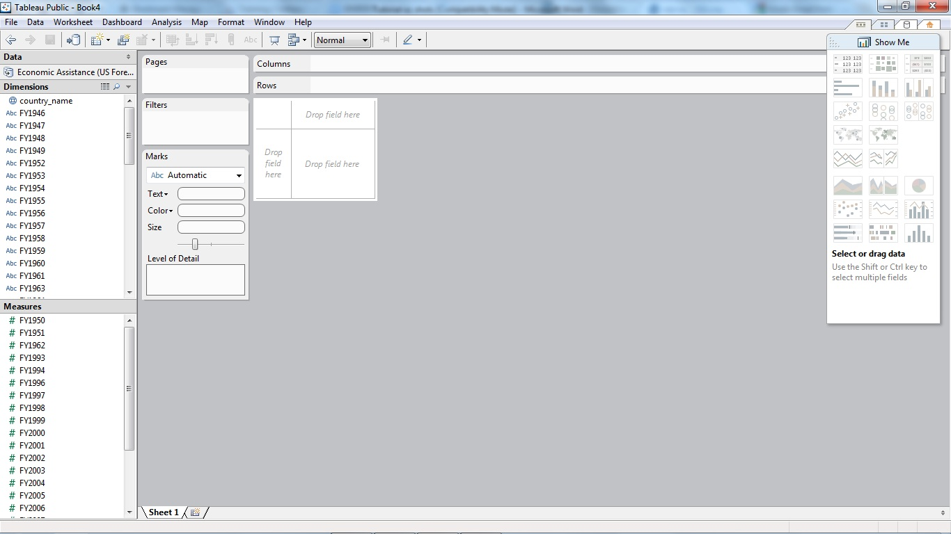 after the data has been loaded into the tableau software it is as shown