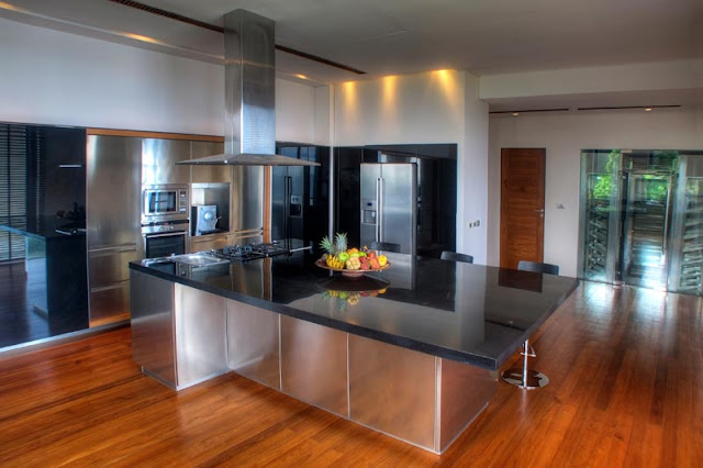 Modern kitchen island in the Villa Liberty, Phuket